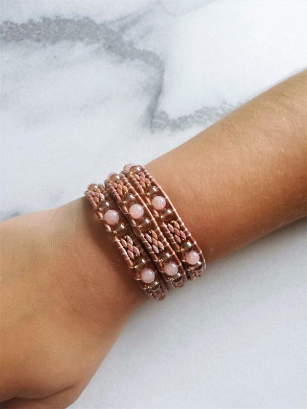 Metalpink, bracelet, wikkelarmband, wrapbracelet, pink, roze, leder, leather, handmade, hartje