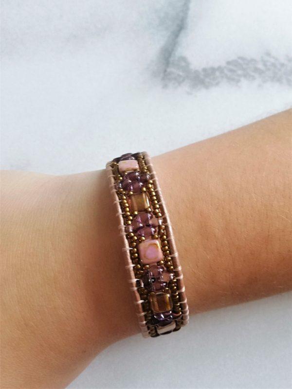 Leder, kralenarmband, guanyin jewels