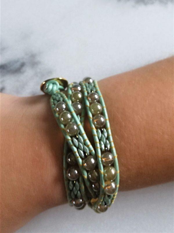 Icegreen, wikkelarmband, armband, leder, bedeltje, hartje, kralen, beads