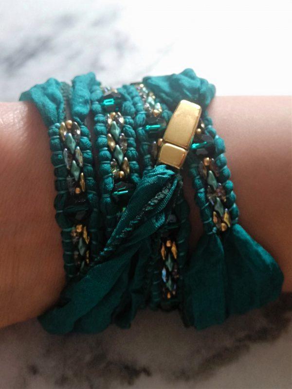 Wikkelarmband, wrapbracelet, armband, zijde, silk, aquarius