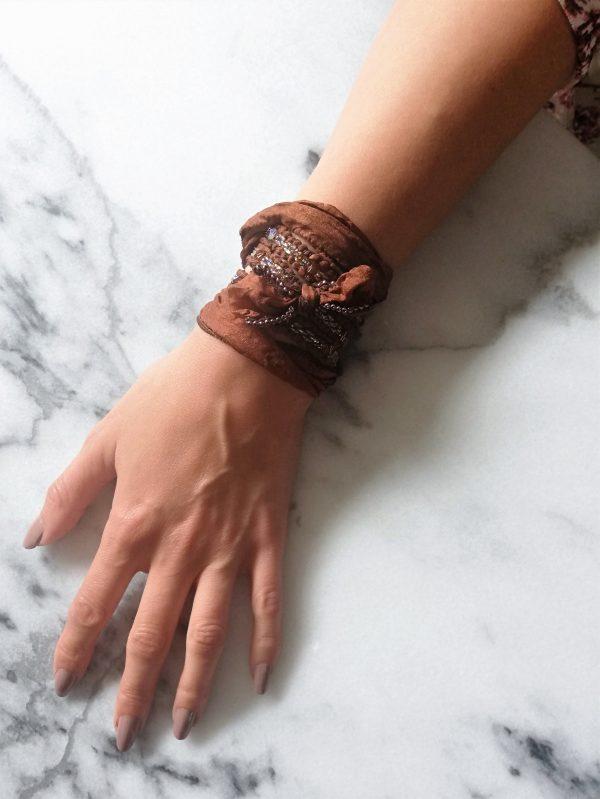 Oakbrown, wrapbracelet, wikkelarmband, armband, bracelet, beads, silk, zijde