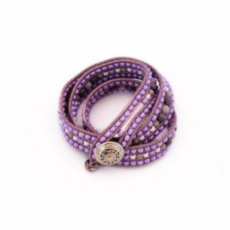 Cuff, paars, armband, guanyinjewels, grijs, uniek, kralen, beads, verstelbaar