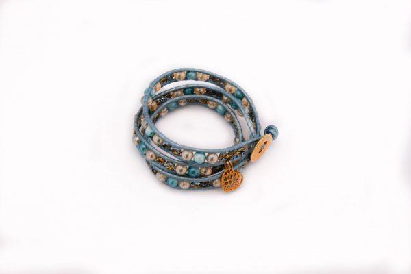 Iceblue, blauw, wikkelarmband, bedeltje, hartje, armband, bracelet, leder, leather