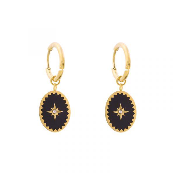 Oorbellen, goud, zwart, creolen, ring, bedel, guanyin, jewels