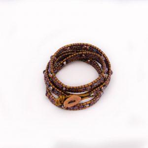 Wikkelarmband, paars, goud, leder, wrapbracelet, rosegold, beads, kralen, handmade