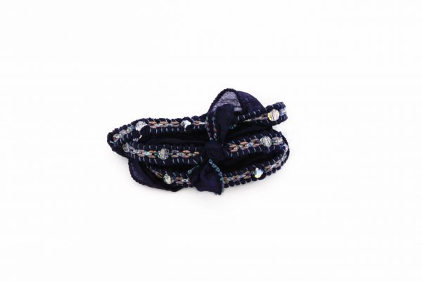 Zijde, wikkelarmband, wrapbracelet, silk, night, blue, beads
