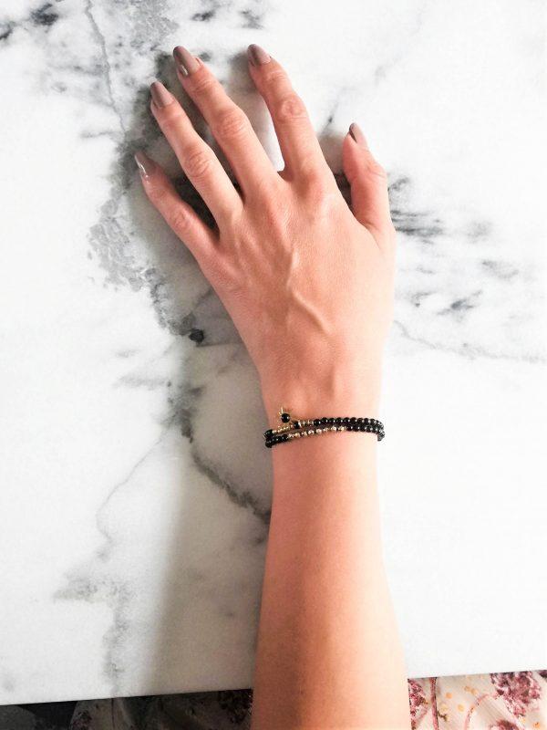 onyx, milemila, armbandje, edelsteenkralen, bedel